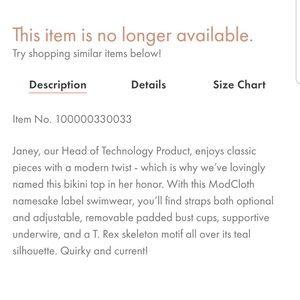 Modcloth Swim - NWT ModCloth Mint Janey T. Rex Skeleton Bikini Top
